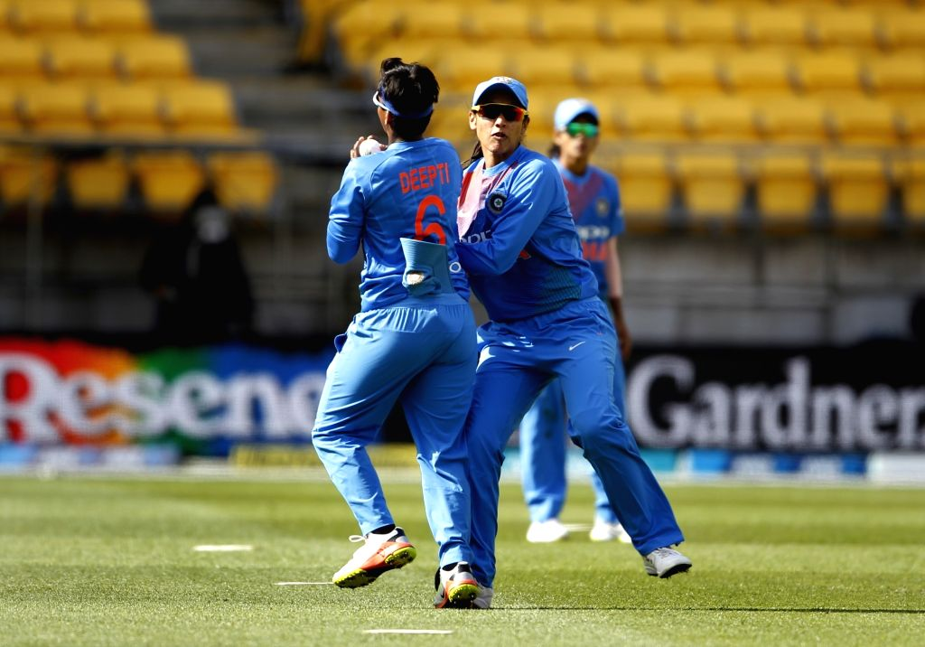 Wellington (New Zealand): India's Deepti Sharma takes the catch of Sophie Devine during the first women's Twenty20 International match between India and New Zealand at Westpac Stadium in Wellington, New Zealand on Feb 6, 2019. Also seen Indian women' - Mithali Raj, Deepti Sharma and Surjeet Yadav