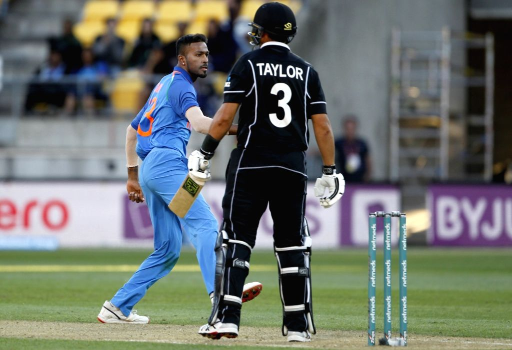 Wellington (New Zealand): India's Hardik Pandya celebrates the wicket of Ross Taylor during the fifth ODI match between India and New Zealand at Westpac Stadium in Wellington, New Zealand on Feb 3, ...