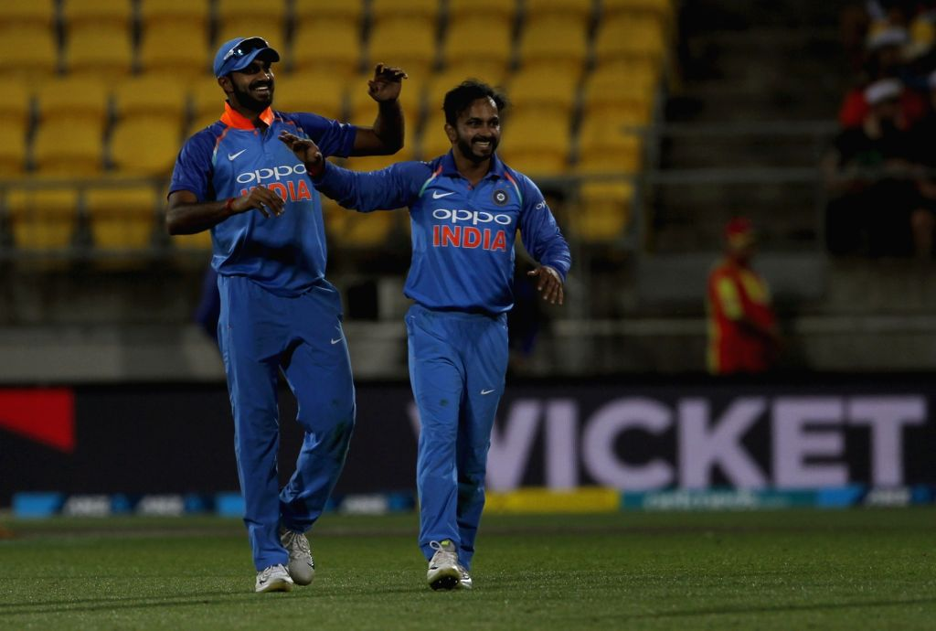 Wellington (New Zealand): India's Kedar Jadhav celebrates the wicket of New Zealand skipper Kane Williamson with teammates during the fifth ODI match between India and New Zealand at Westpac Stadium ...