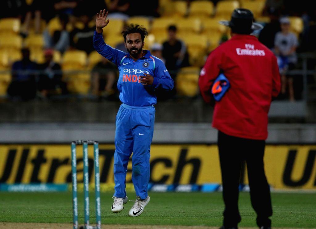 Wellington (New Zealand): India's Kedar Jadhav reacts during the fifth ODI match between India and New Zealand at Westpac Stadium in Wellington, New Zealand on Feb 3, 2019.