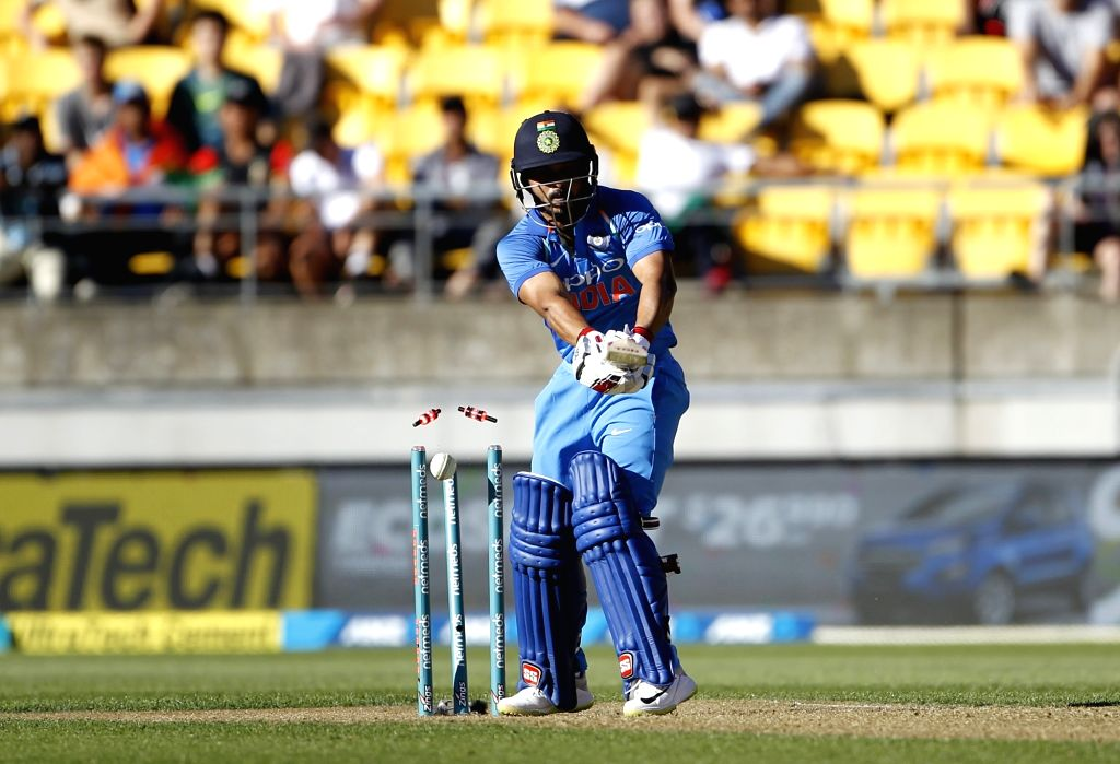 Wellington (New Zealand): India's Kedar Jadhav in action during the fifth ODI match between India and New Zealand at Westpac Stadium in Wellington, New Zealand on Feb 3, 2019.