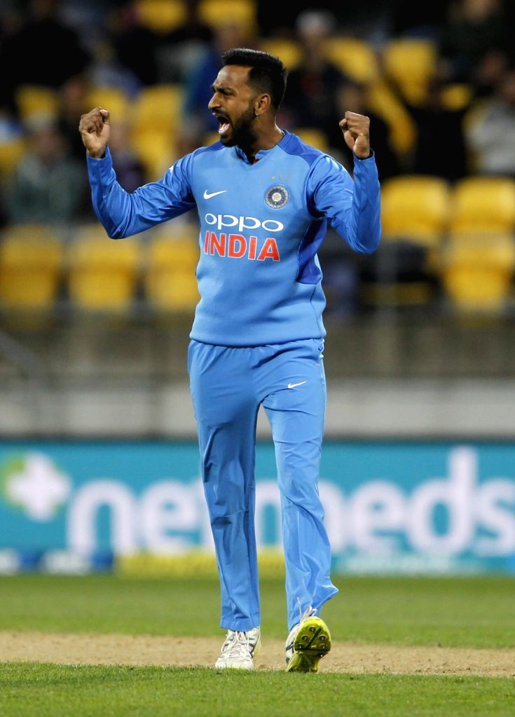 Wellington (New Zealand): India's Krunal Pandya celebrates the wicket of Colin Munro during the first Twenty20 International match between India and New Zealand at Westpac Stadium in Wellington, New ...