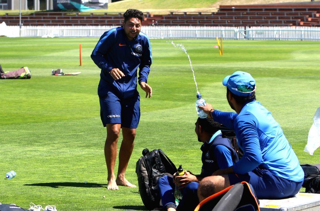 Wellington (New Zealand): India's Kuldeep Yadav during a practice session at Basin Reserve cricket stadium in Wellington, New Zealand on Feb. 5, 2019. - Kuldeep Yadav