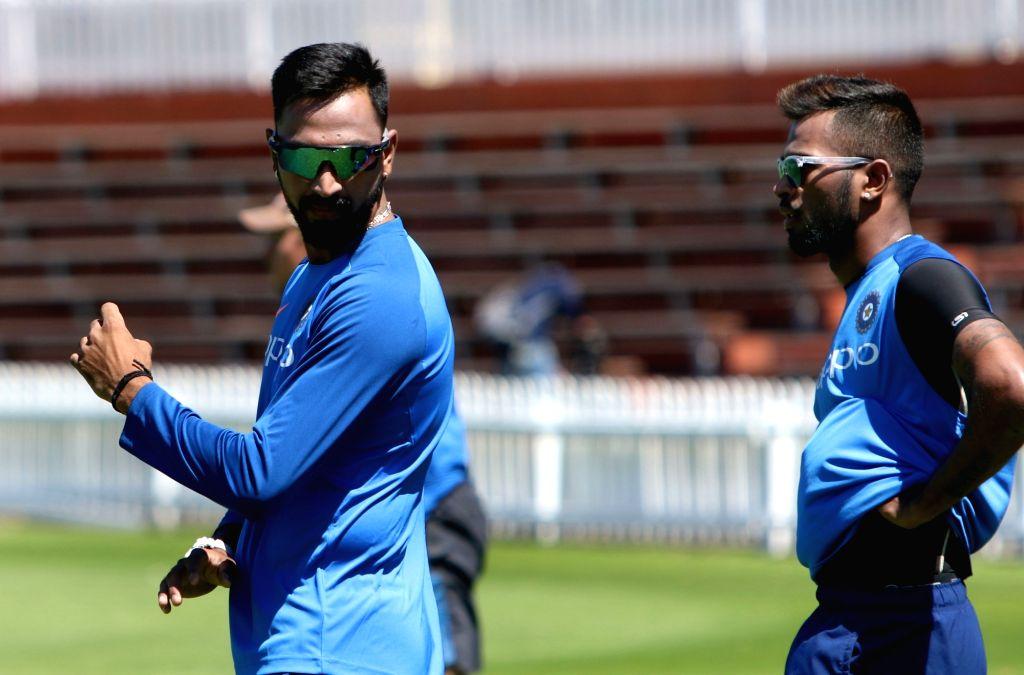 Wellington (New Zealand): India's Lokesh Rahul and Hardik Pandya during a practice session at Basin Reserve cricket stadium in Wellington, New Zealand on Feb. 5, 2019. - Lokesh Rahul