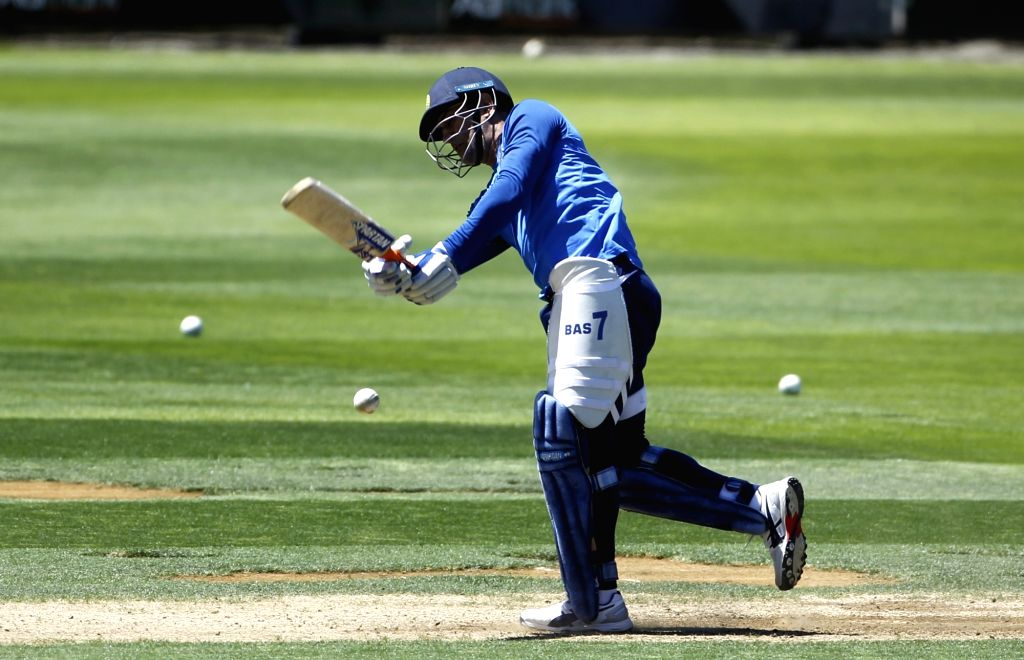 Wellington (New Zealand): India's M.S. Dhoni during a practice session at Basin Reserve cricket stadium in Wellington, New Zealand on Feb. 5, 2019. (Photo: Surjeet Yadav/IANS) - Surjeet Yadav
