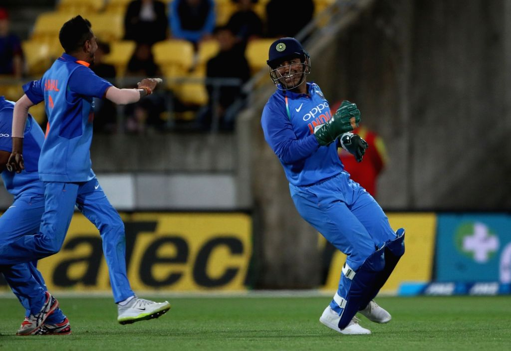 Wellington (New Zealand): India's MS Dhoni celebrates the wicket of James Neesham during the fifth ODI match between India and New Zealand at Westpac Stadium in Wellington, New Zealand on Feb 3, 2019. - MS Dhoni
