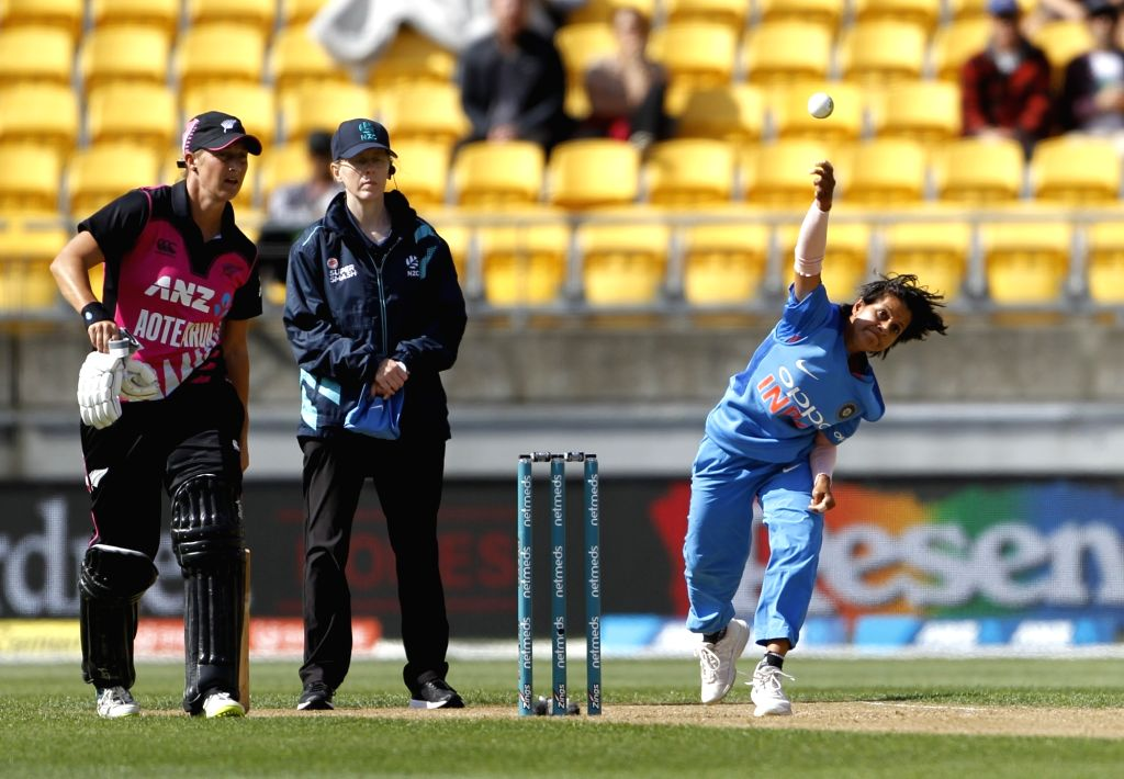 Wellington (New Zealand): India's Poonam Yadav in action during the first women's Twenty20 International match between India and New Zealand at Westpac Stadium in Wellington, New Zealand on Feb 6, 2019. (Photo: Surjeet Yadav/IANS) - Poonam Yadav and Surjeet Yadav