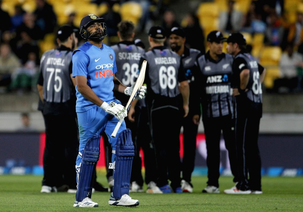 Wellington (New Zealand): India's Rohit Sharma reacts after getting dismissed during the first T20I match between India and New Zealand at Westpac Stadium in Wellington, New Zealand on Feb 6, 2019. (Photo: Surjeet Yadav/IANS) - Rohit Sharma and Surjeet Yadav