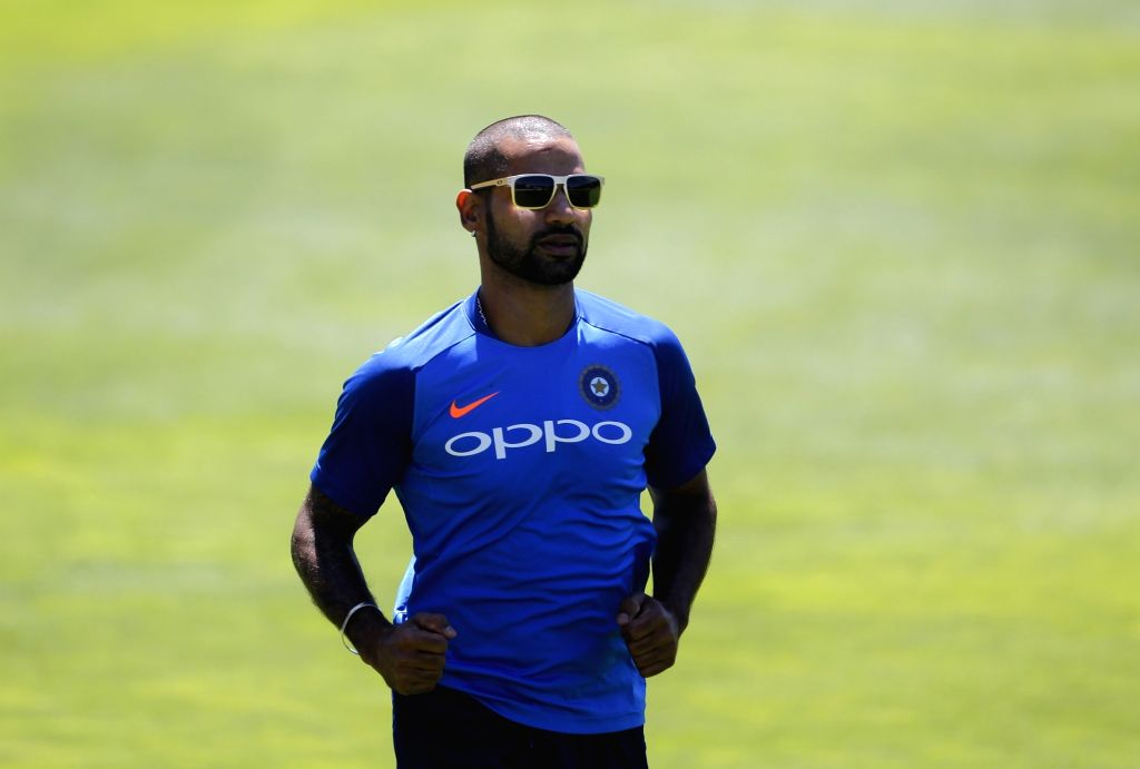 Wellington (New Zealand): India's Shikhar Dhawan during a practice session at Basin Reserve cricket stadium in Wellington, New Zealand on Feb. 5, 2019. (Photo: Surjeet Yadav/IANS) - Shikhar Dhawan and Surjeet Yadav