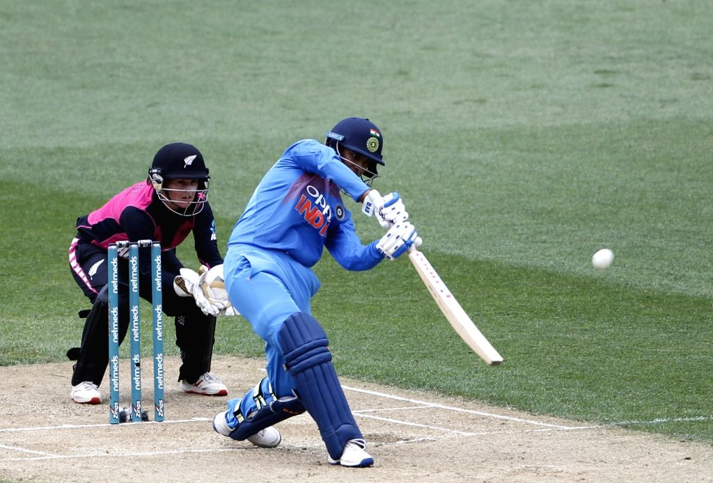 Wellington (New Zealand): India's Smriti Mandhana in action during the first women's Twenty20 International match between India and New Zealand at Westpac Stadium in Wellington, New Zealand on Feb 6, 2019. (Photo: Surjeet Yadav/IANS) - Surjeet Yadav