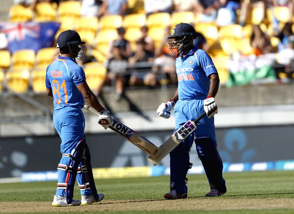 Wellington (New Zealand): Indian batsman Ambati Rayudu celebrates his fifty with Kedar Jadhav during the fifth ODI between India and New Zealand at Westpac Stadium, Wellington on Feb. 3, 2019. - Ambati Rayudu