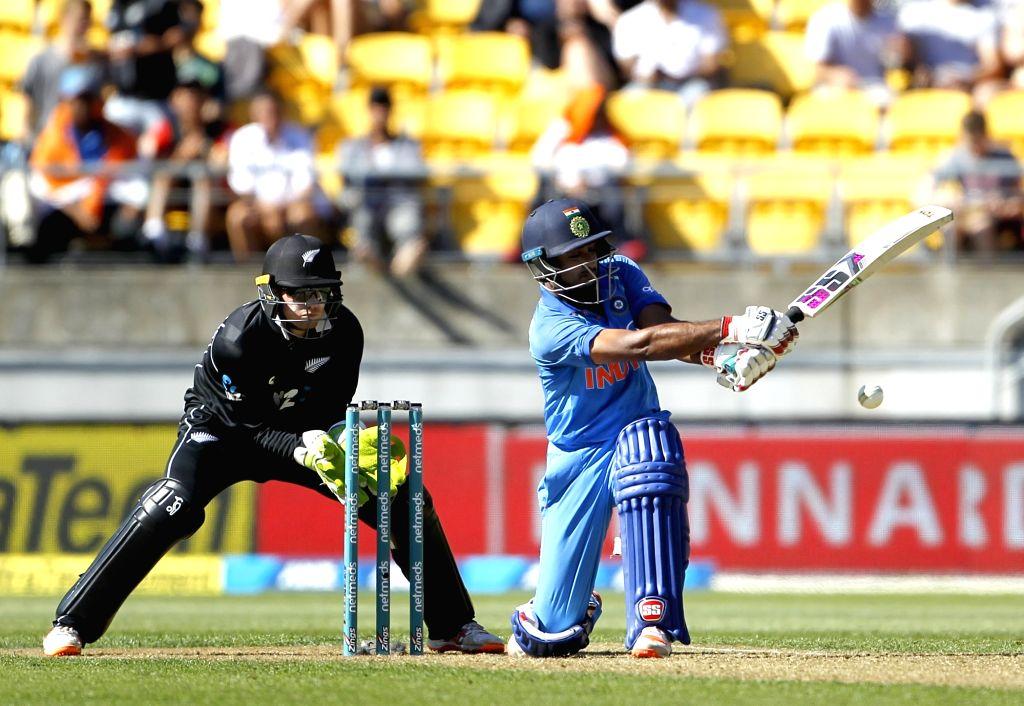 Wellington (New Zealand): Indian batsman  Ambati Rayudu in action during the fifth ODI between India and New Zealand at Westpac Stadium, Wellington on Feb. 3, 2019. (Photo: Surjeet Yadav/IANS) - Ambati Rayudu and Surjeet Yadav