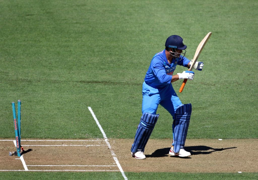 Wellington (New Zealand): Indian batsman MS Dhoni bowled by New Zealand bowler Trent Boult during the fifth ODI between India and New Zealand at Westpac Stadium, Wellington on Feb. 3, 2019. - MS Dhoni