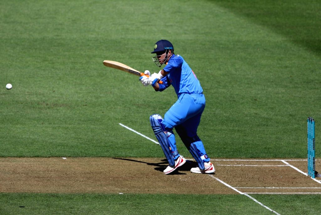 Wellington (New Zealand): Indian batsman MS Dhoni plays a shot during the fifth ODI between India and New Zealand at Westpac Stadium, Wellington on Feb. 3, 2019. - MS Dhoni