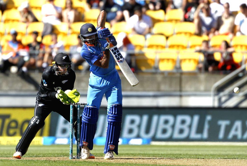 Wellington (New Zealand): Indian batsman Vijay Shankar plays a shot during the fifth ODI between India and New Zealand at Westpac Stadium, Wellington on Feb. 3, 2019. (Photo: Surjeet Yadav/IANS) - Vijay Shankar and Surjeet Yadav