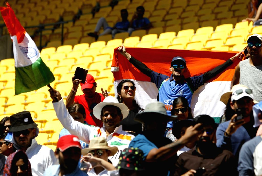 Wellington (New Zealand): Indian fans cheer for their team during the fifth ODI between India and New Zealand at Westpac Stadium, Wellington on Feb. 3, 2019.