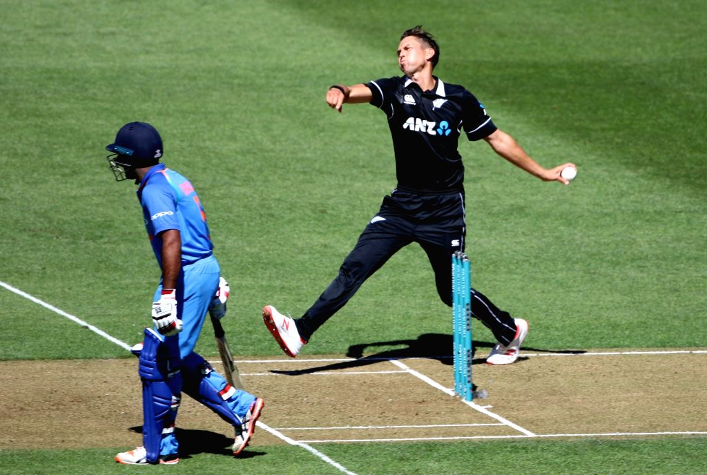 Wellington (New Zealand): New Zealand bowler Trent Boult in action during the fifth ODI between India and New Zealand at Westpac Stadium, Wellington on Feb. 3, 2019. - Trent Boult