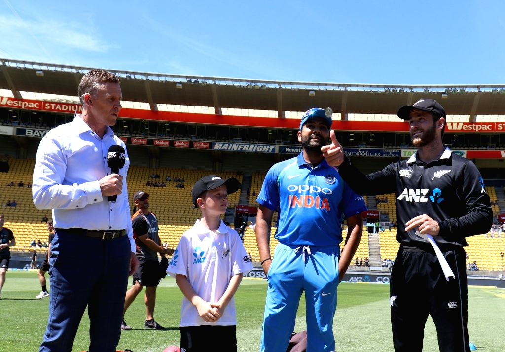 Wellington (New Zealand: New Zealand Captain Kane Williamson and Indian Captain Rohit Sharma at the toss of coin during the fifth ODI between India and New Zealand at Westpac Stadium, Wellington on ... - Kane Williamson and Rohit Sharma