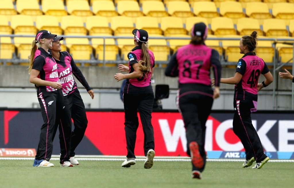 Wellington (New Zealand): New Zealand players celebrate the wicket of Smriti Mandhana during the first women's Twenty20 International match between India and New Zealand at Westpac Stadium in Wellington, New Zealand on Feb 6, 2019. (Photo: Surjeet Ya - Surjeet Yadav
