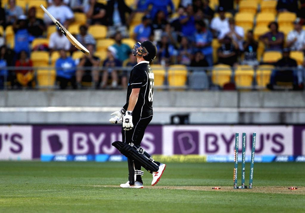 Wellington (New Zealand): New Zealand's Colin Munro reacts after getting dismissed during the fifth ODI match between India and New Zealand at Westpac Stadium in Wellington, New Zealand on Feb 3, ...