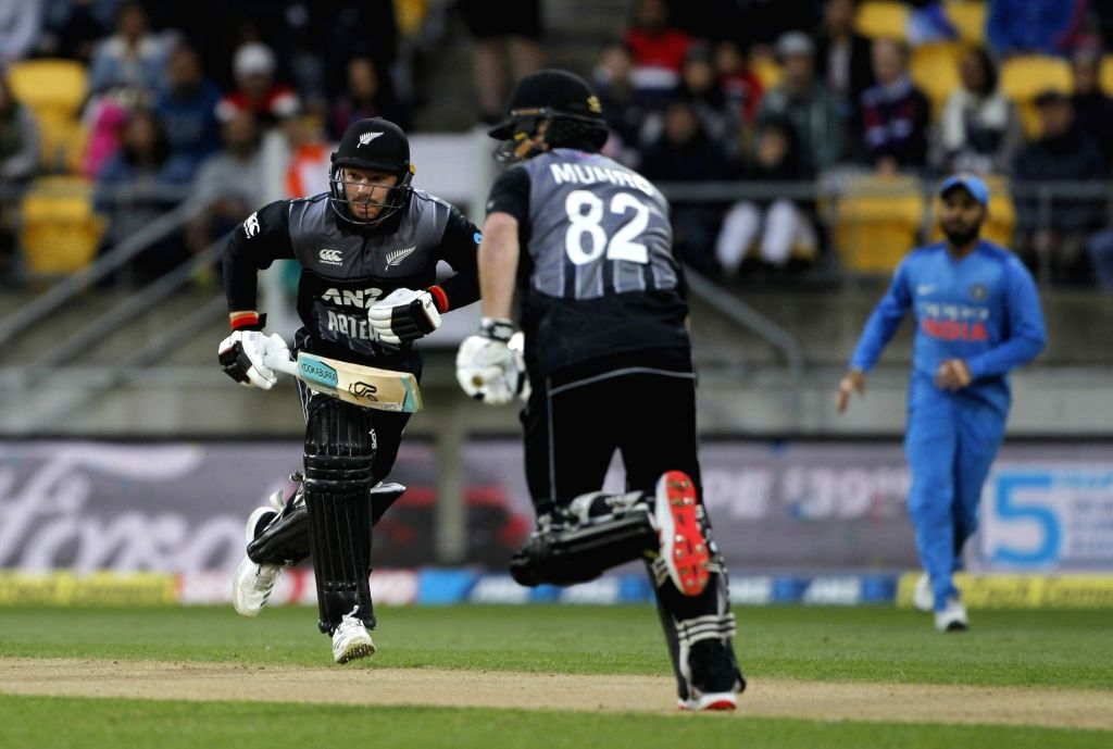 Wellington (New Zealand): New Zealand's Colin Munro and Tim Seifert during the first Twenty20 International match between India and New Zealand at Westpac Stadium in Wellington, New Zealand on Feb 6, ...