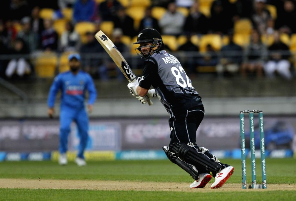 Wellington (New Zealand): New Zealand's Colin Munro in action during the first Twenty20 International match between India and New Zealand at Westpac Stadium in Wellington, New Zealand on Feb 6, 2019.