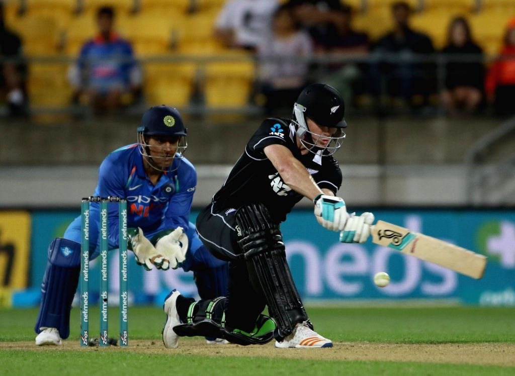 Wellington (New Zealand): New Zealand's James Neesham in action during the fifth ODI match between India and New Zealand at Westpac Stadium in Wellington, New Zealand on Feb 3, 2019.