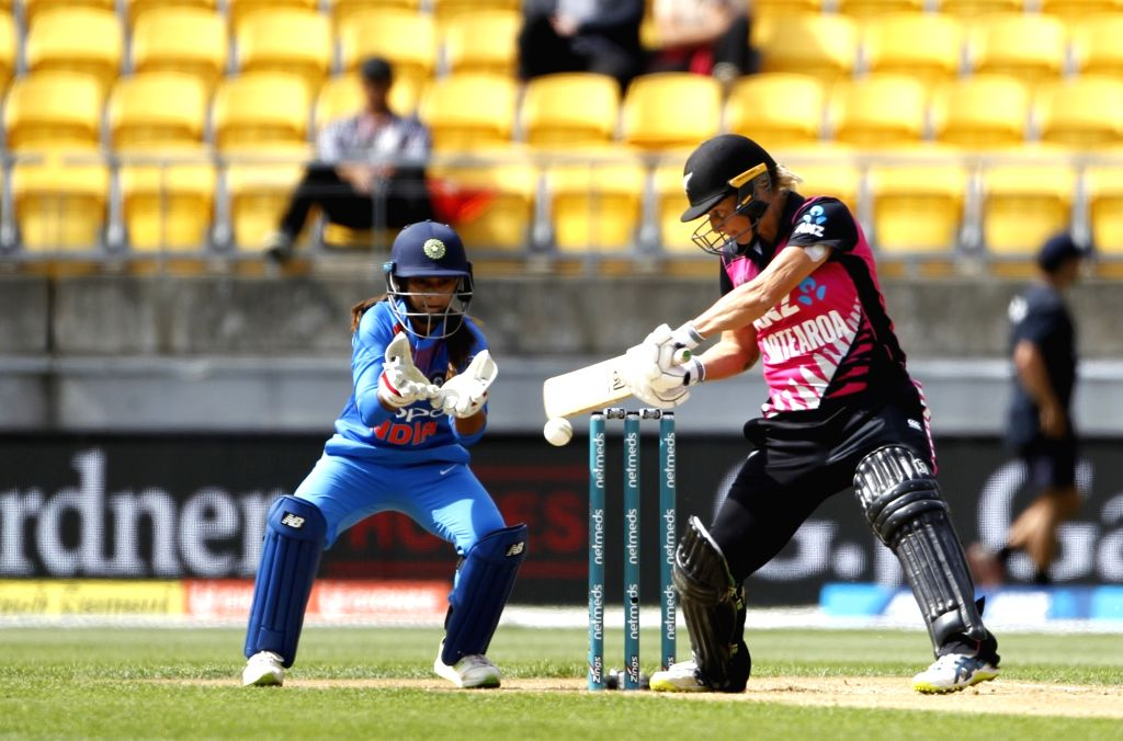 Wellington (New Zealand): New Zealand's Sophie Devine in action during the first women's Twenty20 International match between India and New Zealand at Westpac Stadium in Wellington, New Zealand on ...