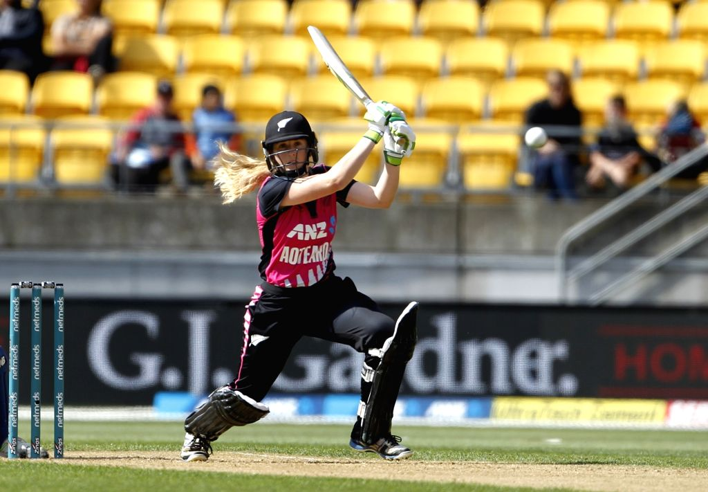 Wellington (New Zealand): New Zealand's Sophie Devine in action during the first women's Twenty20 International match between India and New Zealand at Westpac Stadium in Wellington, New Zealand on Feb 6, 2019. (Photo: Surjeet Yadav/IANS) - Surjeet Yadav
