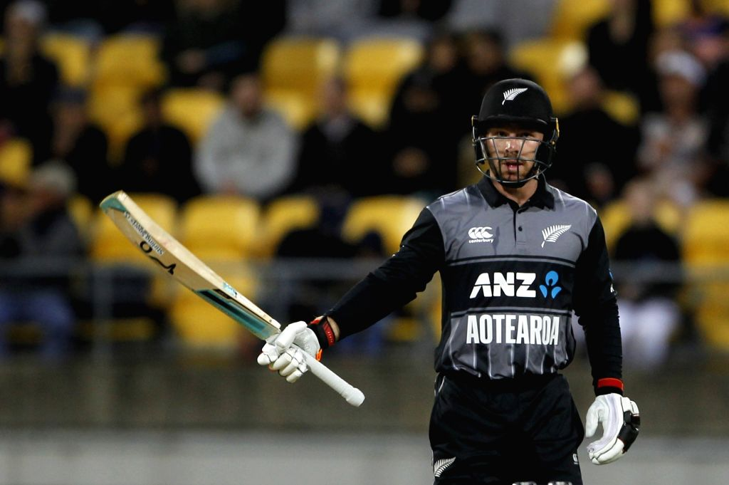 Wellington (New Zealand): New Zealand's Tim Seifert celebrates his half-century during the first Twenty20 International match between India and New Zealand at Westpac Stadium in Wellington, New ...