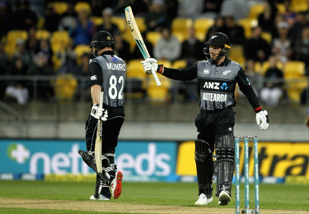 Wellington (New Zealand): New Zealand's Tim Seifert celebrates his half-century during the first Twenty20 International match between India and New Zealand at Westpac Stadium in Wellington, New Zealand on Feb 6, 2019. (Photo: Surjeet Yadav/IANS) - Surjeet Yadav
