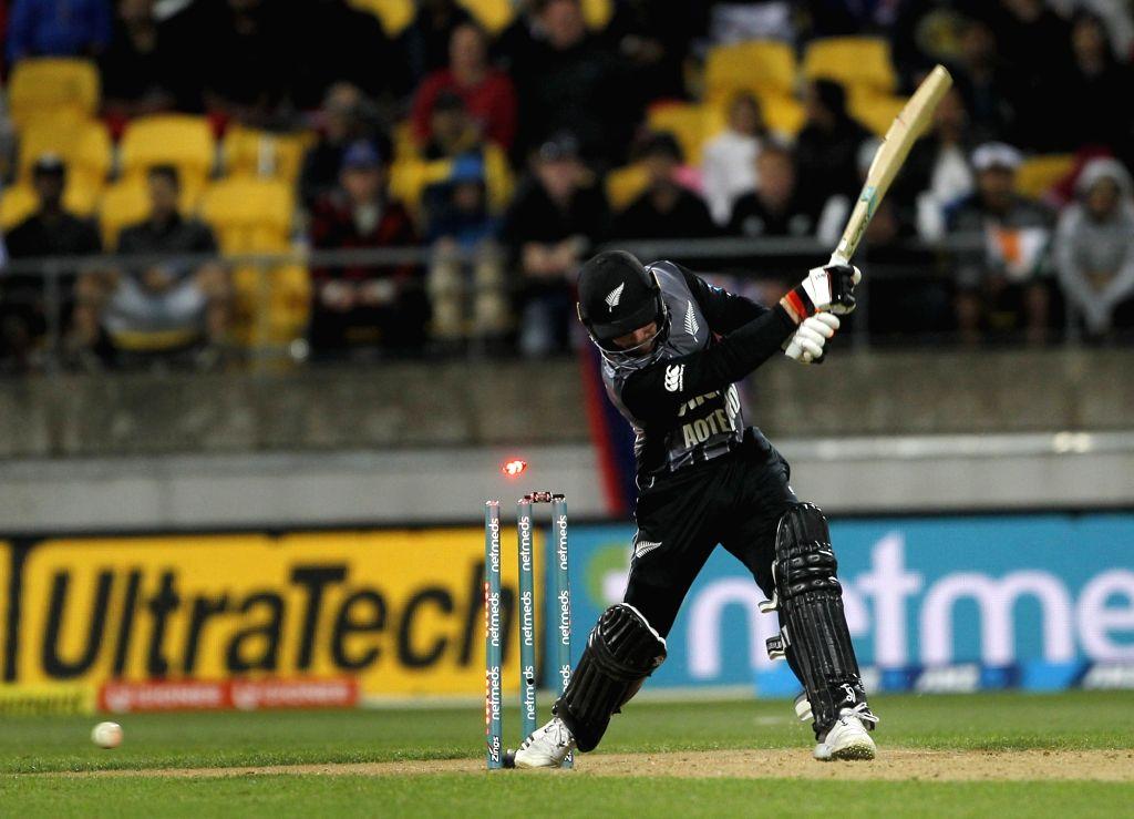 Wellington (New Zealand): New Zealand's Tim Seifert gets bowled-out by Khaleel Ahmed during the first Twenty20 International match between India and New Zealand at Westpac Stadium in Wellington, New Zealand on Feb 6, 2019. (Photo: Surjeet Yadav/IANS) - Surjeet Yadav