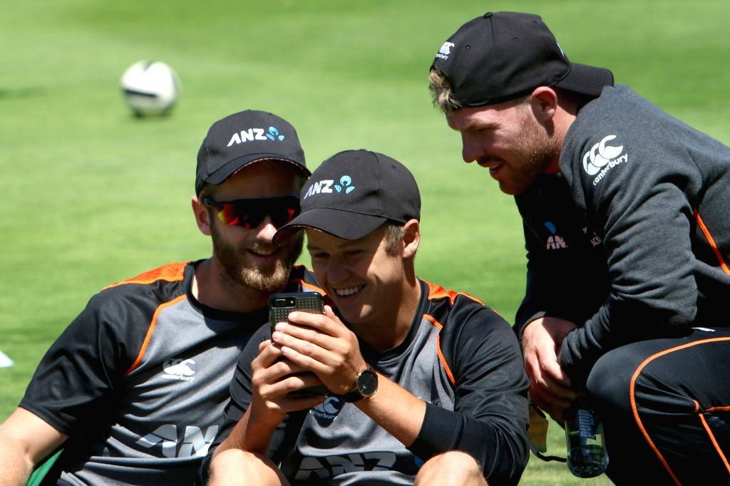 Wellington (New Zealand): New Zealand skipper Kane Williamson with teammates during a practice session at Basin Reserve cricket stadium in Wellington, New Zealand on Feb. 5, 2019.