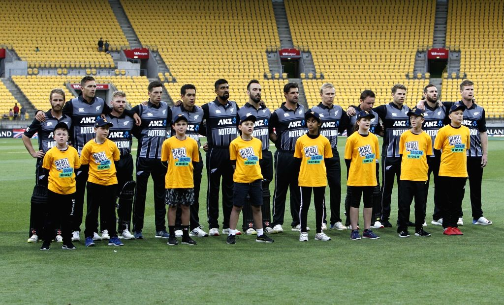 Wellington (New Zealand): New Zealand team during their National Anthem ahead of the first Twenty20 International match between India and New Zealand at Westpac Stadium in Wellington, New Zealand on ...