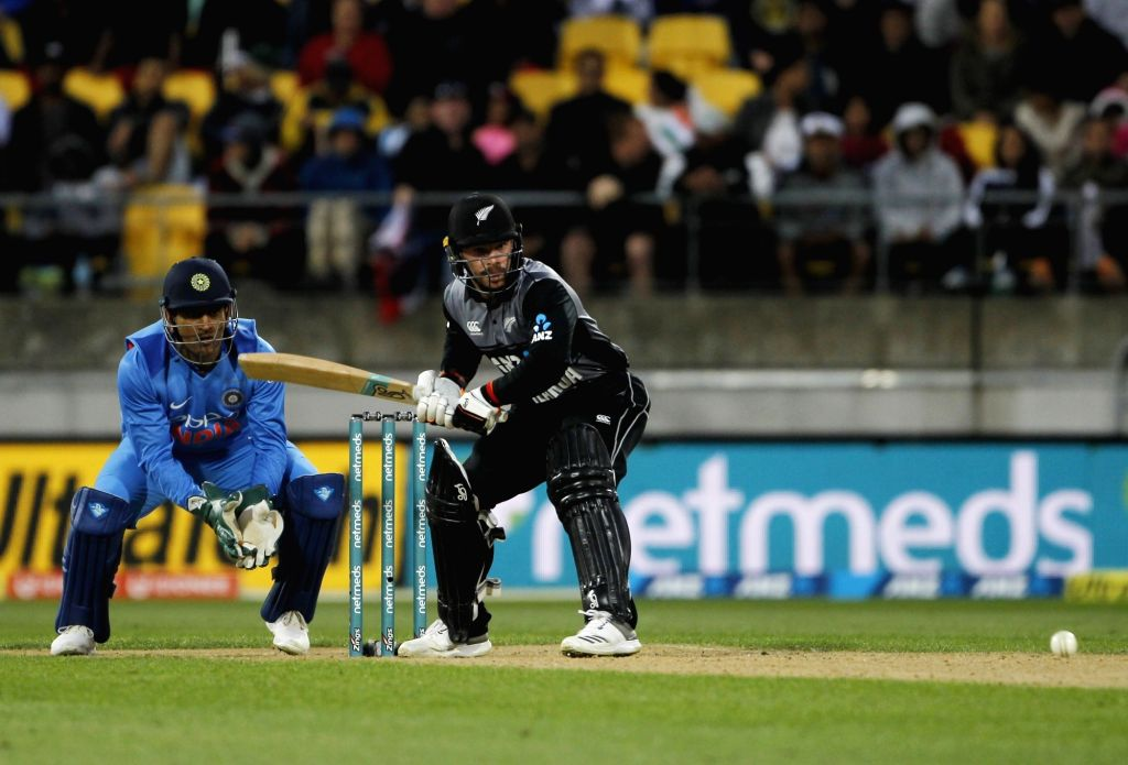 Wellington (New Zealand): New Zeland's Tim Seifert in action during the first Twenty20 International match between India and New Zealand at Westpac Stadium in Wellington, New Zealand on Feb 6, 2019. (Photo: Surjeet Yadav/IANS) - Surjeet Yadav