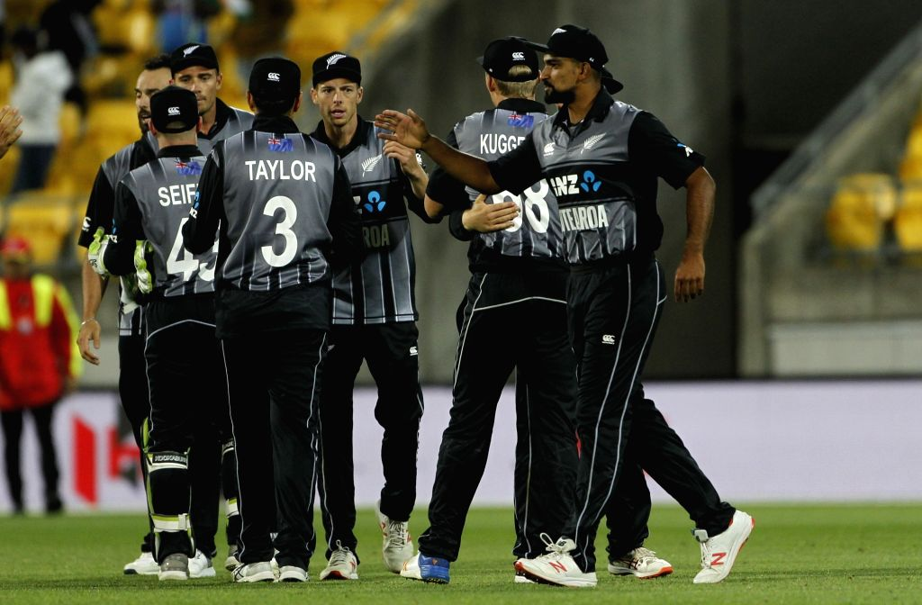 Wellington: New Zealand players celebrate after winning the first T20I match against India at Westpac Stadium in Wellington, New Zealand on Feb 6, 2019. (Photo: Surjeet Yadav/IANS) - Surjeet Yadav