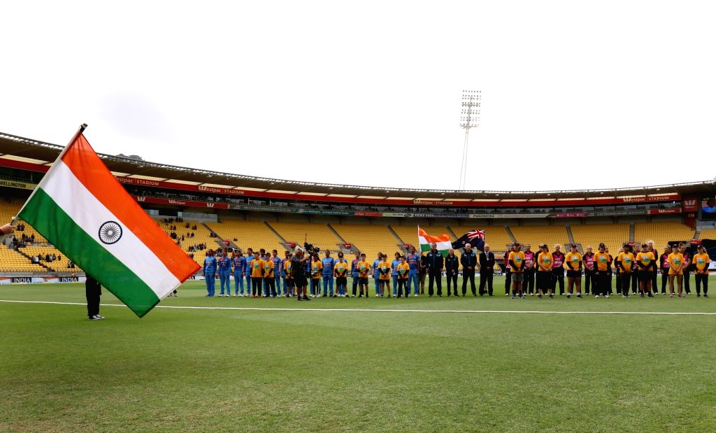 Wellington (New Zealand):  The Indian and the New Zealand team ahead of the first women's Twenty20 International match at Westpac Stadium in Wellington, New Zealand on Feb 6, 2019.