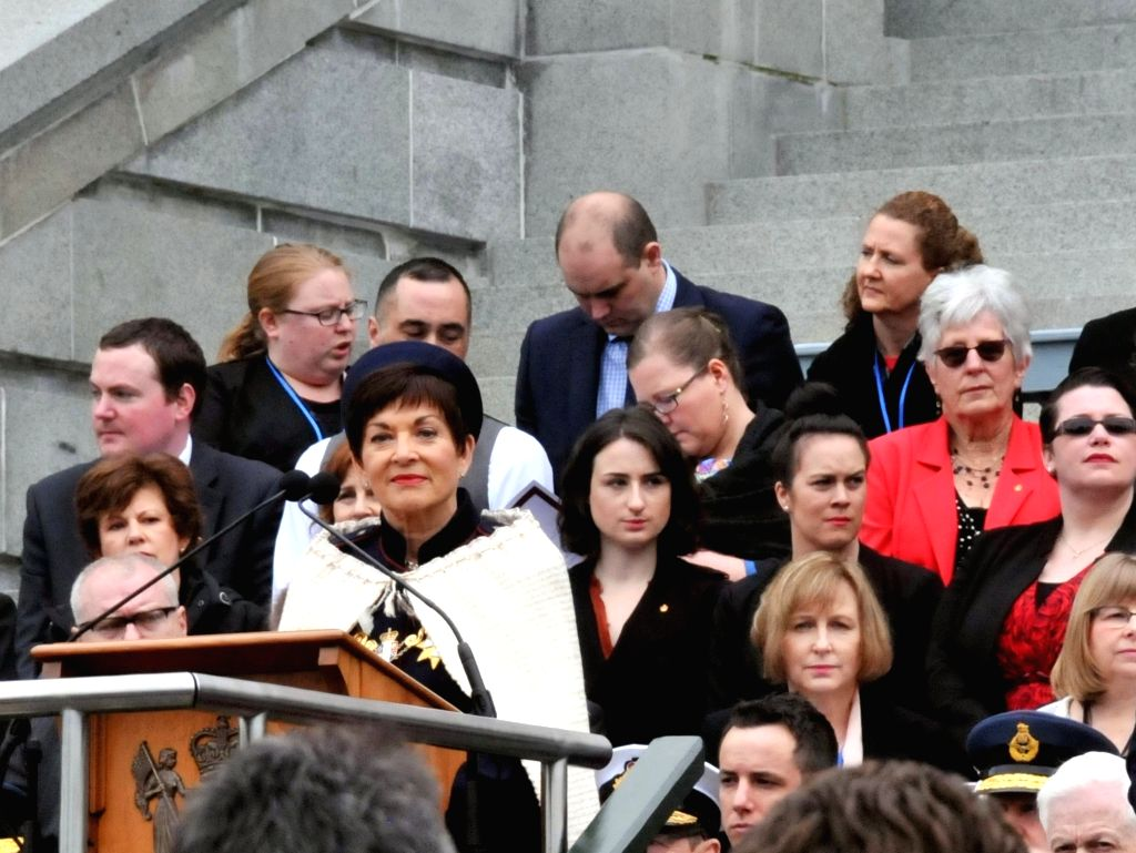WELLINGTON, Sept. 28, 2016 - New Zealand's 21st Governor-general Dame Patsy Reddy (C) delivers a speech during the swearing-in ceremony on the forecourt of the New Zealand Parliament in Wellington, ... - Patsy Reddy