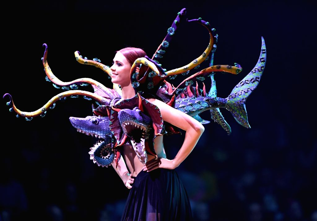 WELLINGTON, Sept. 28, 2018 - A model presents creations during the annual World of Wearable Art Awards Show in Wellington, New Zealand, on Sept. 28, 2018.