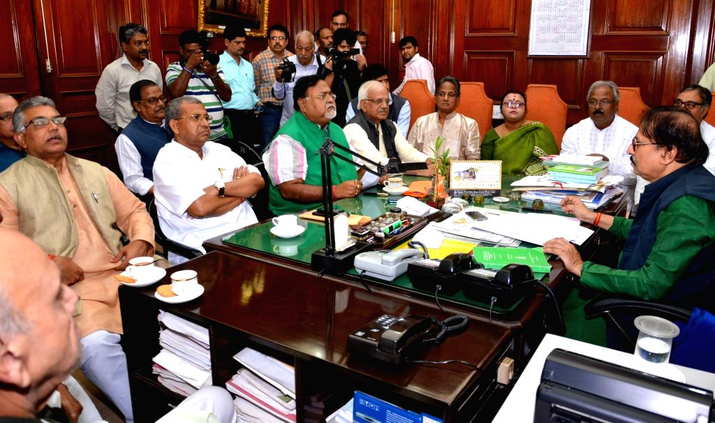 West Bengal Assembly Speaker Biman Banerjee chairs the All Party meeting at State Assembly in Kolkata on Nov 30, 2016. - Biman Banerjee