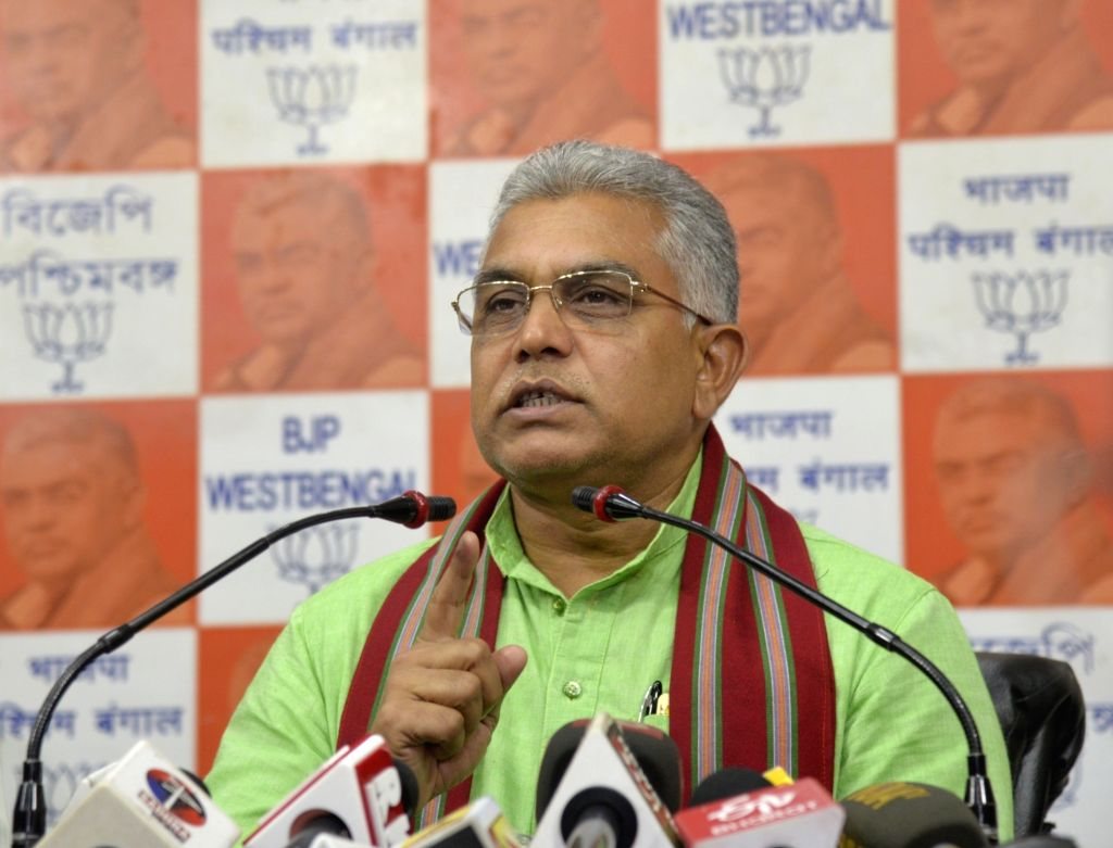West Bengal BJP chief Dilip Ghosh addresses a press conference in Kolkata on Sep 12, 2019. - Dilip Ghosh