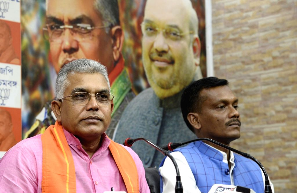 West Bengal BJP chief Dilip Ghosh addresses a press conference in Kolkata on Nov 16, 2019. - Dilip Ghosh