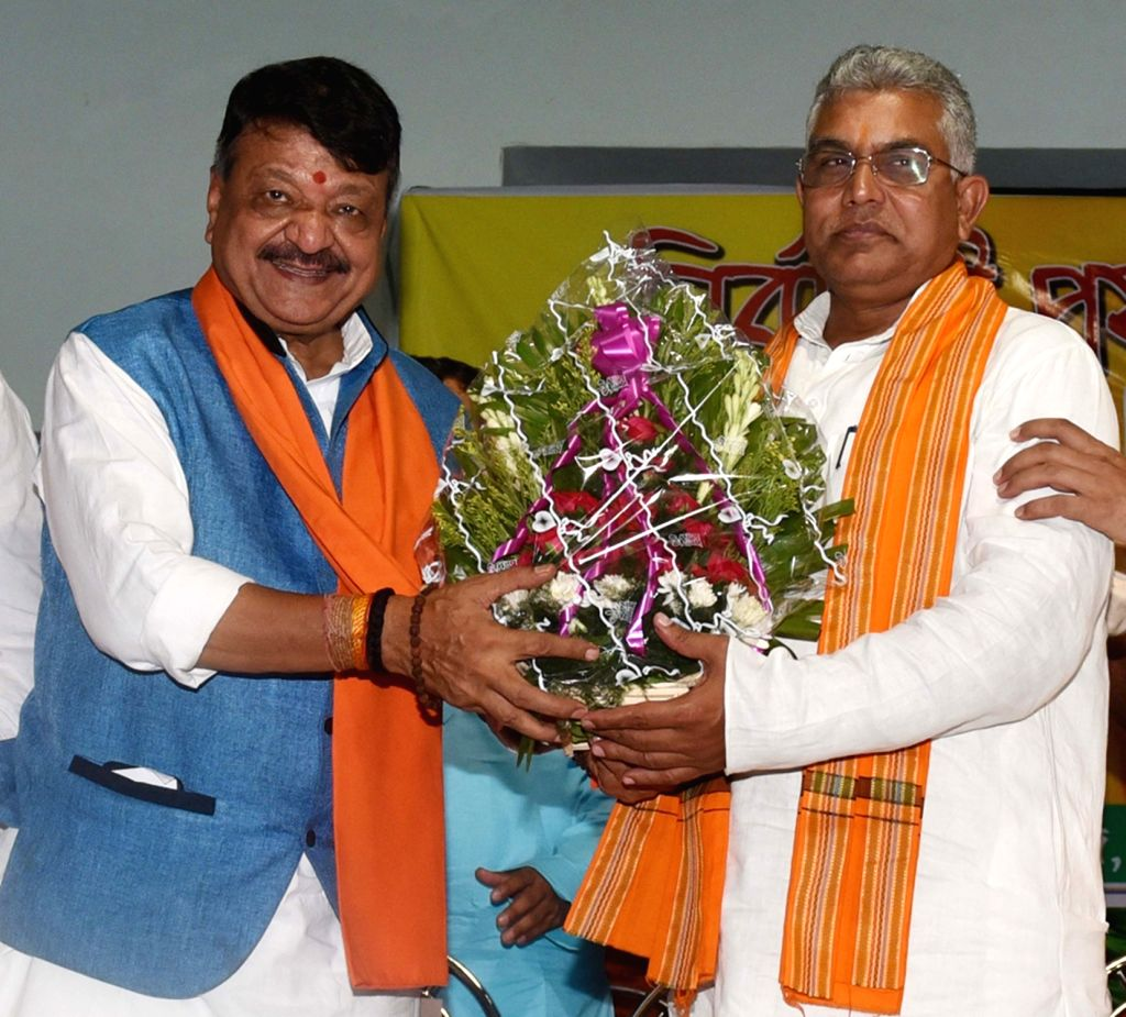 West Bengal BJP chief Dilip Ghosh and the party's National General Secretary Kailash Vijayvargiya at a party meeting in Kolkata, on June 4, 2019. - Dilip Ghosh