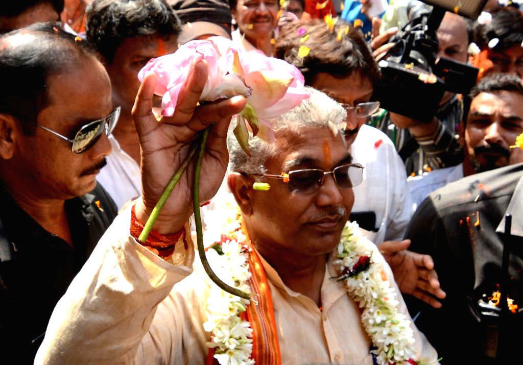 West Bengal BJP President and the newly elected party MP from Midnapore, Dilip Ghosh arrives at a felicitation programme at the West Bengal party headquarters in Kolkata on May 24, 2019. - Dilip Ghosh