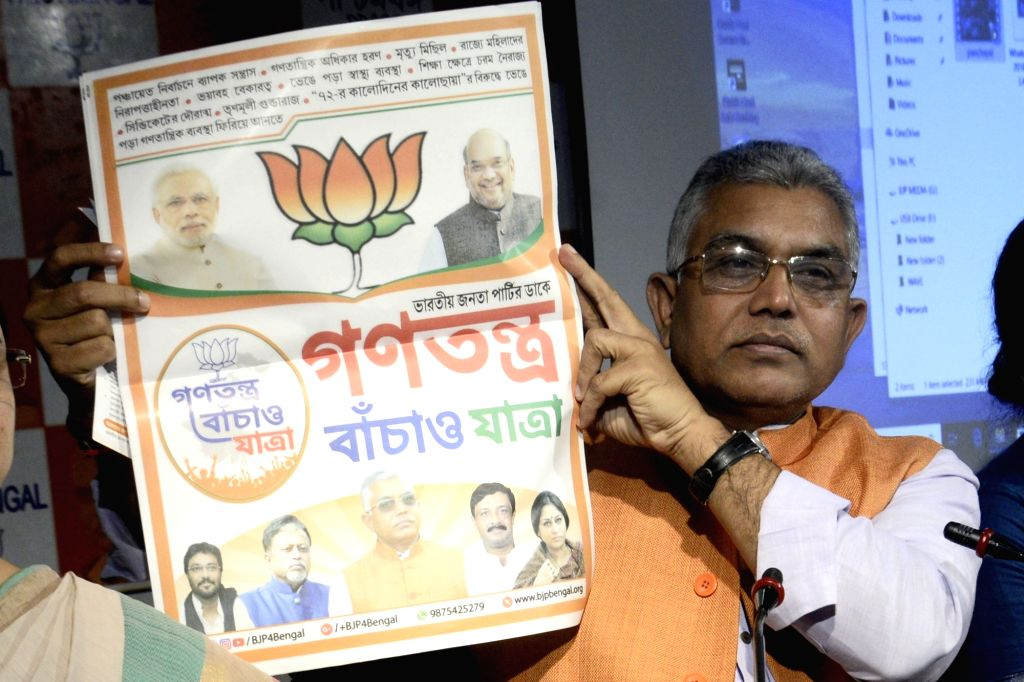 West Bengal BJP President Dilip Ghosh addresses interacts with media personnel in Kolkata on Dec 5, 2018. - Dilip Ghosh