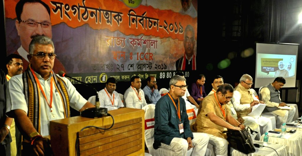 West Bengal BJP President Dilip Ghosh addresses during a party programme in Kolkata on Aug 27, 2018. - Dilip Ghosh