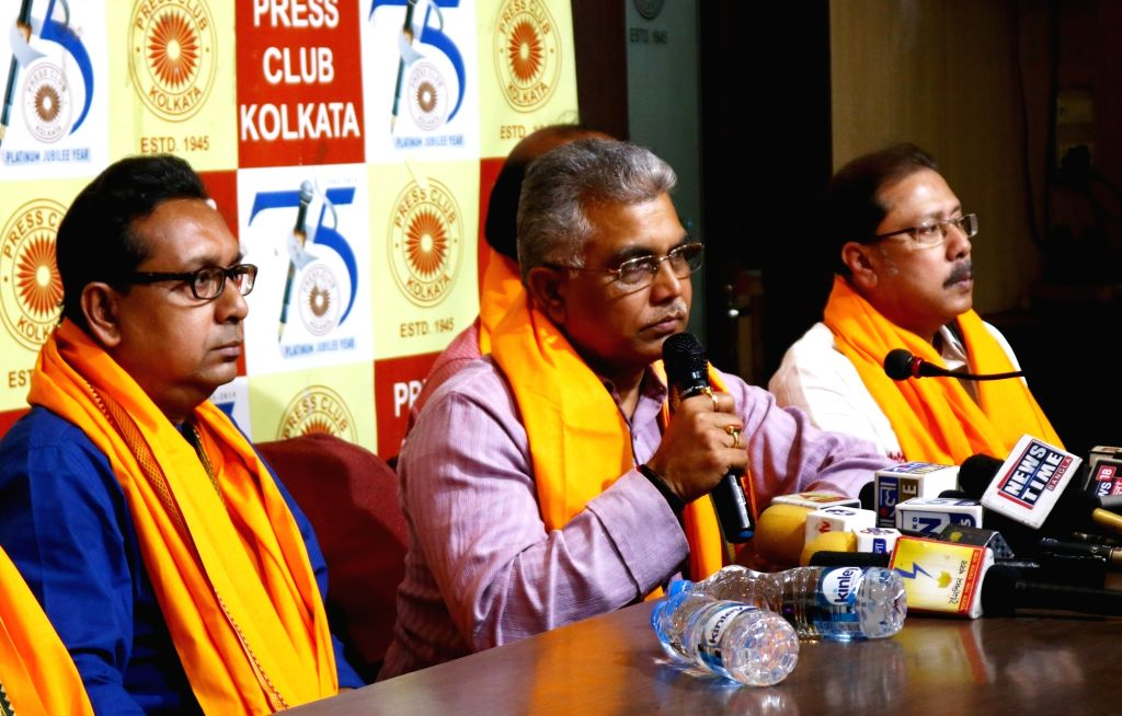 West Bengal BJP President Dilip Ghosh addresses at the inauguration of his website, in Kolkata on March 21, 2020. - Dilip Ghosh
