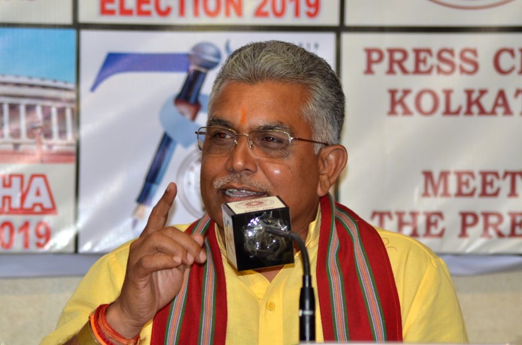 West Bengal BJP President Dilip Ghosh addresses a press conference in Kolkata, on April 25, 2019. - Dilip Ghosh
