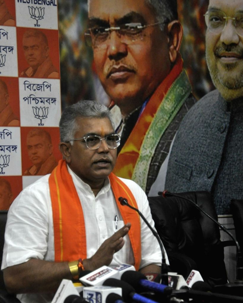 West Bengal BJP President Dilip Ghosh addresses a press conference, at the state party headquarters in Kolkata on Oct 14, 2019. - Dilip Ghosh