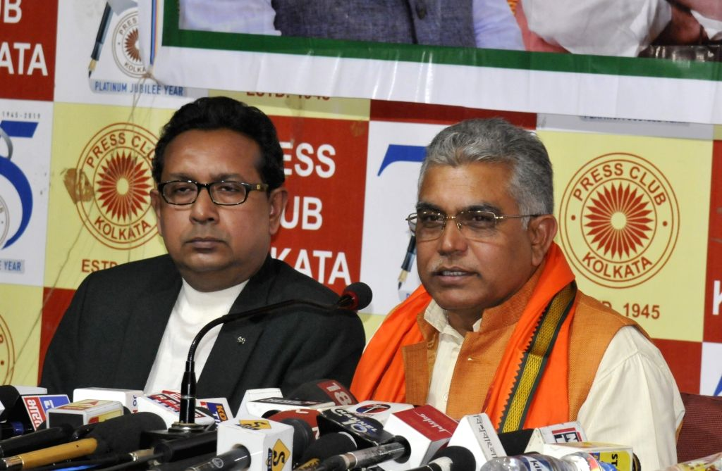 West Bengal BJP President Dilip Ghosh addresses a press conference in Kolkata on Jan 28, 2020. - Dilip Ghosh